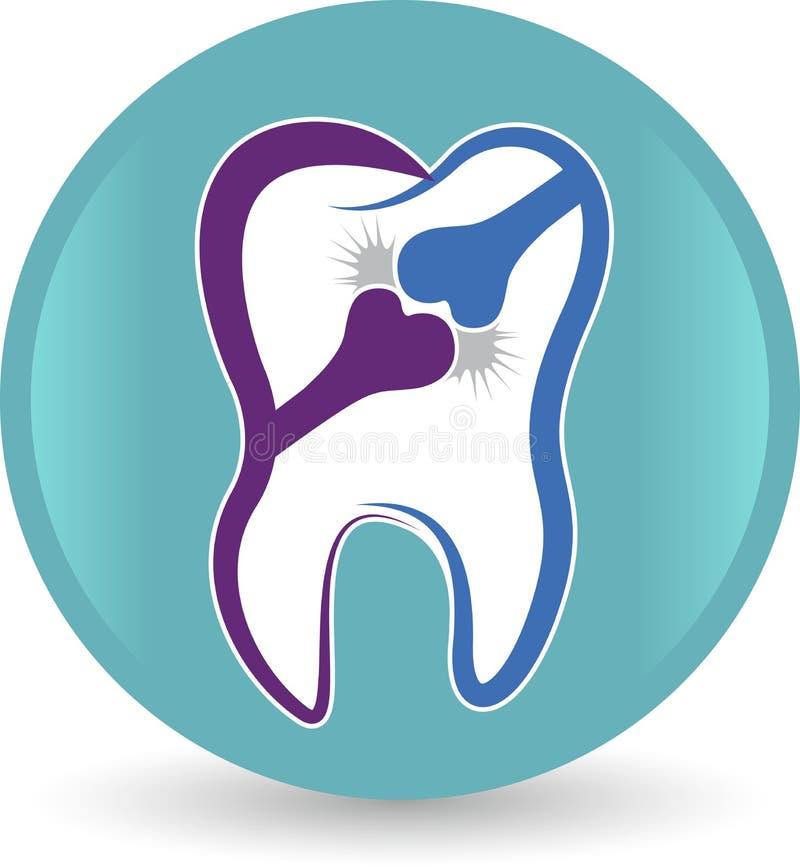 骨头牙齿商标 向量例证