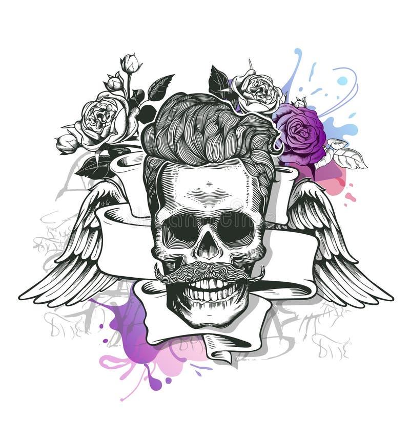 头骨 行家与髭和烟斗的头骨剪影有丝带、玫瑰翼和花束的在飞溅背景的 Ve 向量例证