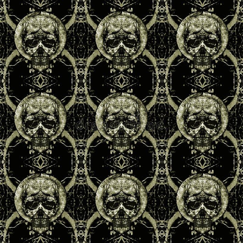 头骨主题黑暗的无缝的样式 皇族释放例证