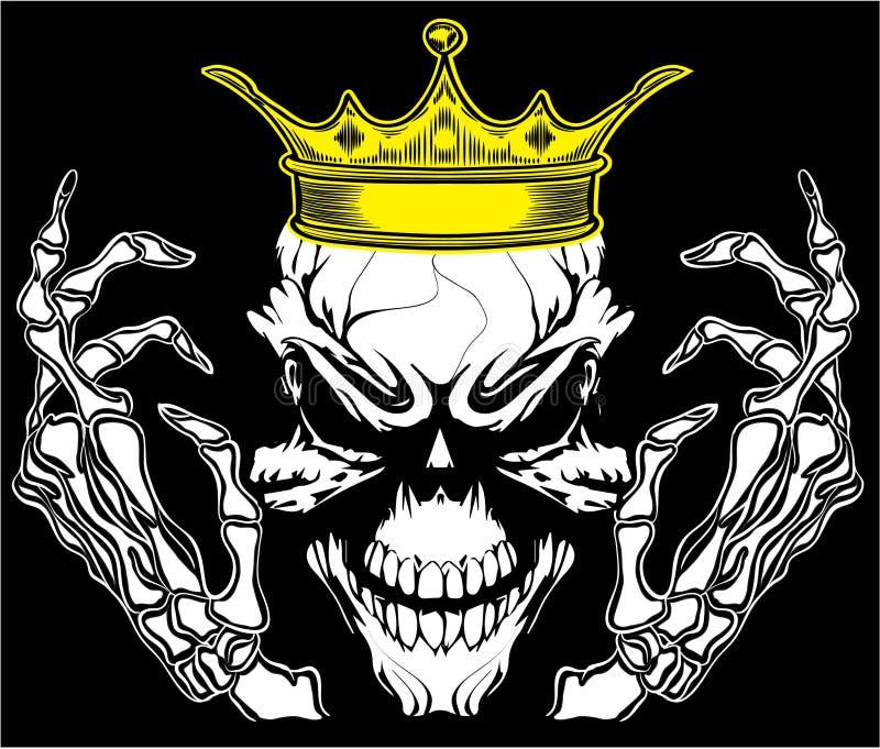 头骨Poster Vintage Man国王T恤杉图表传染媒介设计 向量例证