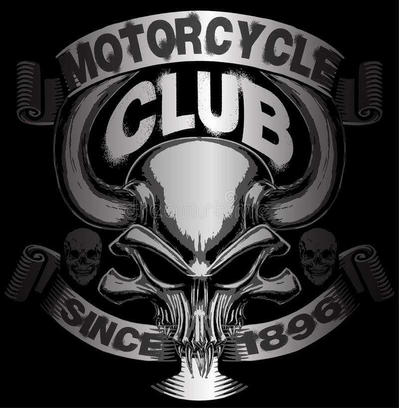 头骨T恤杉图形设计摩托车设计 向量例证