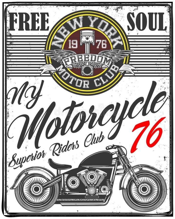 头骨T恤杉摩托车商标图形设计 皇族释放例证