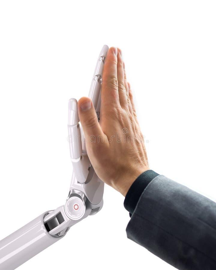 给高五的机器人和人 人工智能技术3d例证 免版税库存照片