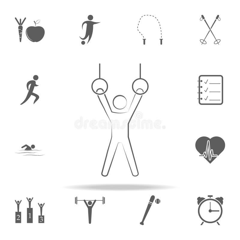 高低杠象的运动员 炫耀网和机动性的象全集 库存例证