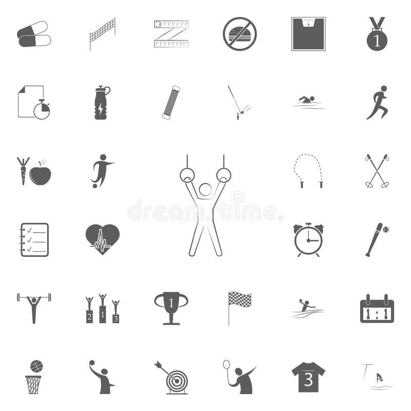 高低杠象的运动员 详细的套体育象 优质质量图形设计标志 其中一个网的汇集象 库存例证