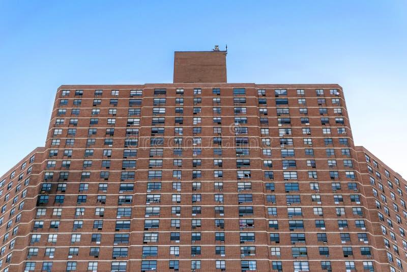 高公寓复合体在哈林,以在左边的可看见的火灾损失,纽约,NY,美国 免版税图库摄影