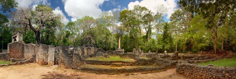 高分辨率全景-古城Gede废墟非洲人的 库存图片