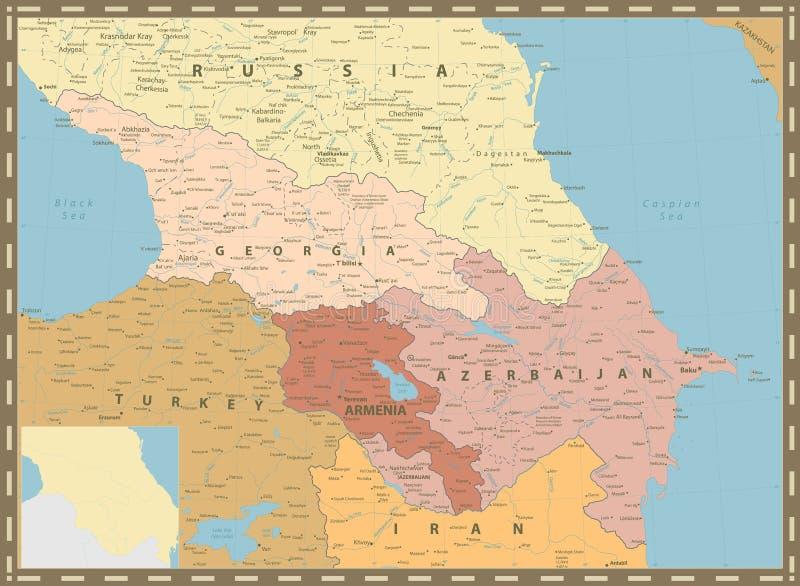 高加索政治地图葡萄酒颜色 皇族释放例证
