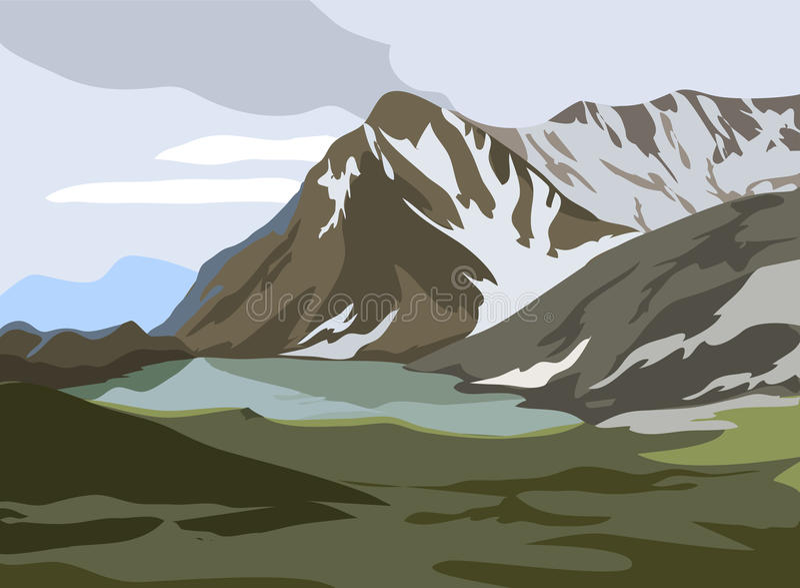 高加索覆盖横向山山shurovky天空ushba 向量例证