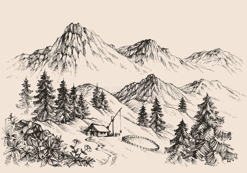 高加索覆盖横向山山shurovky天空ushba 库存例证