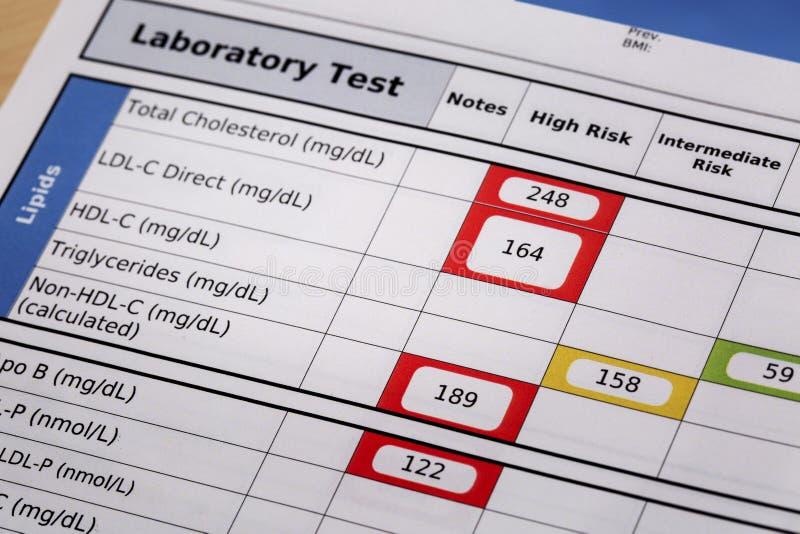 高危险的胆固醇测试结果 免版税库存图片