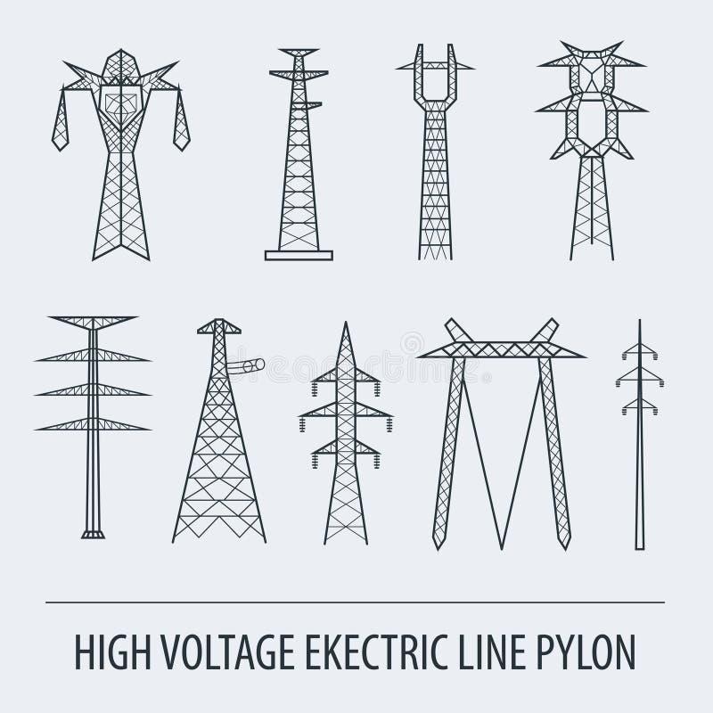 高压电线定向塔 象集合适用于创造 皇族释放例证