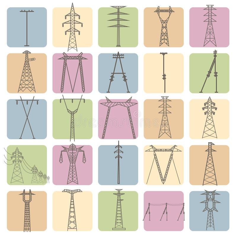 高压电线定向塔 象集合适用于创造 库存例证