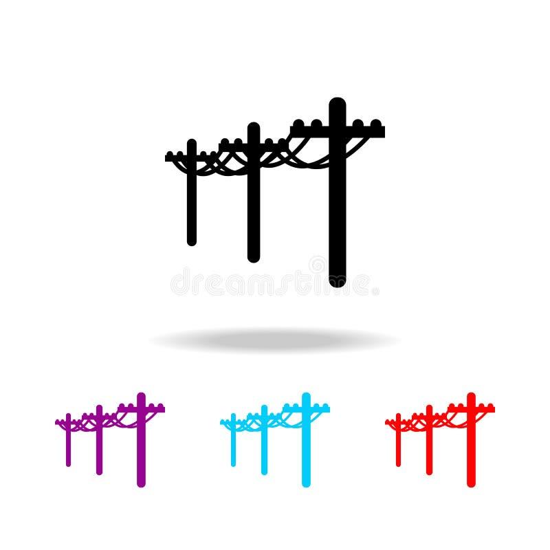 高压线,电杆象 电的元素在多色的象的 优质质量图形设计象 Simpl 皇族释放例证