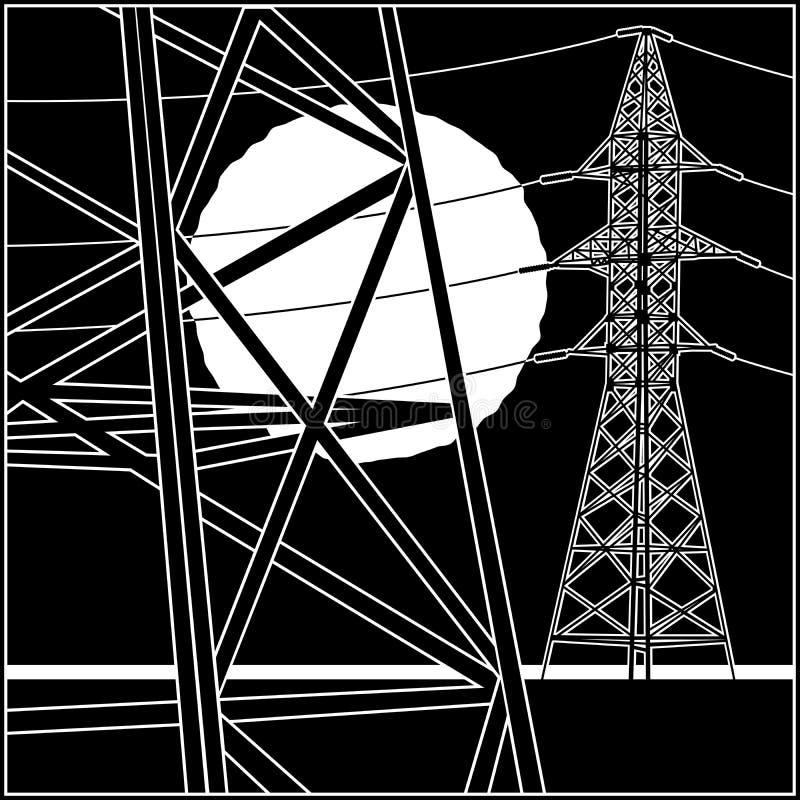 高压输电线 库存例证