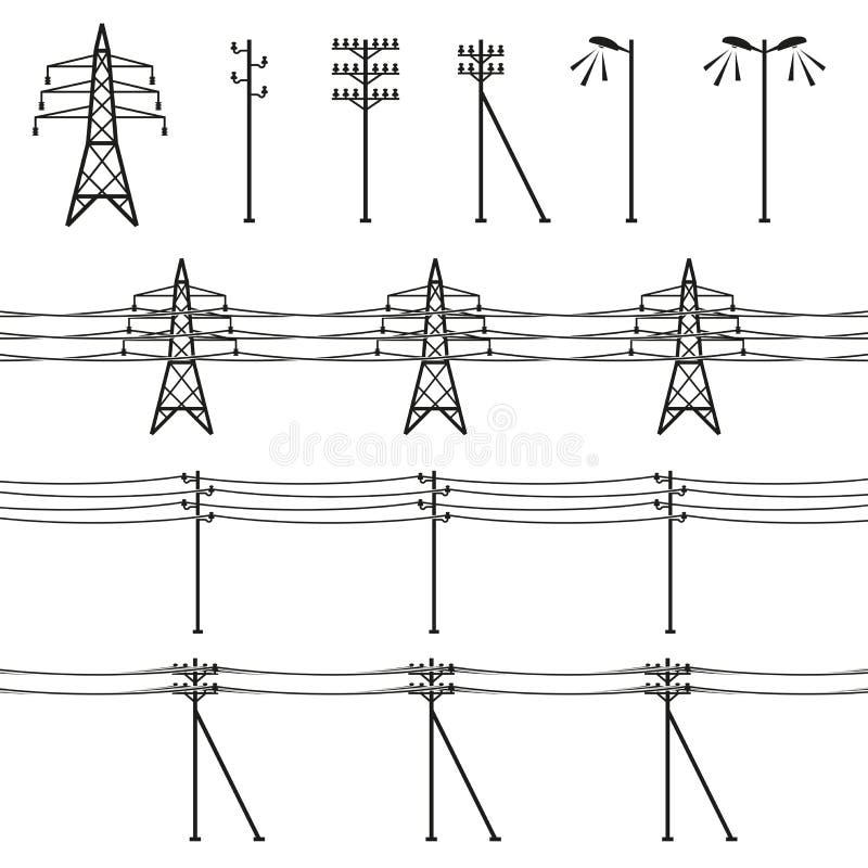 高压输电线 向量例证