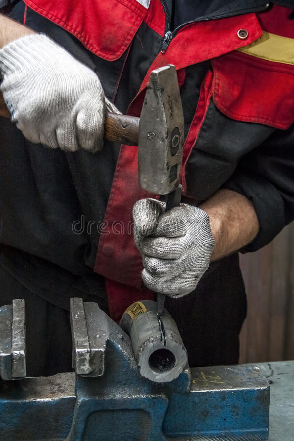 高压水管修理  免版税库存照片