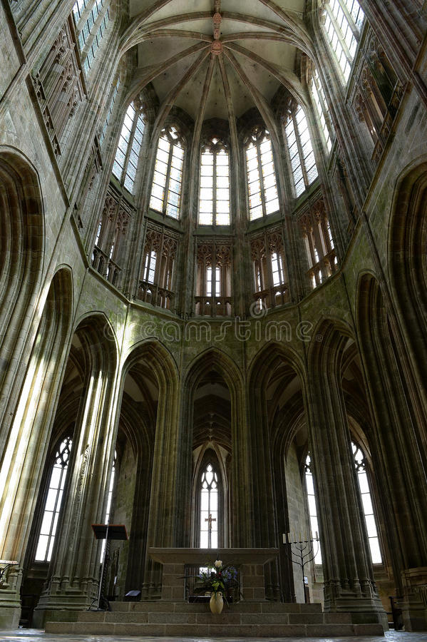 高哥特式天花板, Mont St米谢尔 库存图片