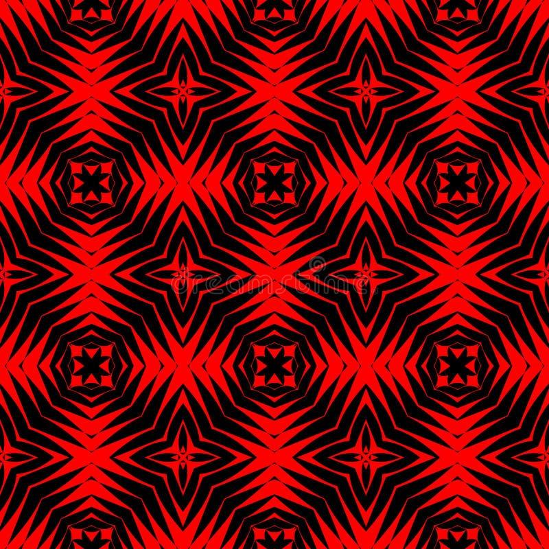 高在黑和生动的红色的不同的现代规则无缝的样式 库存例证