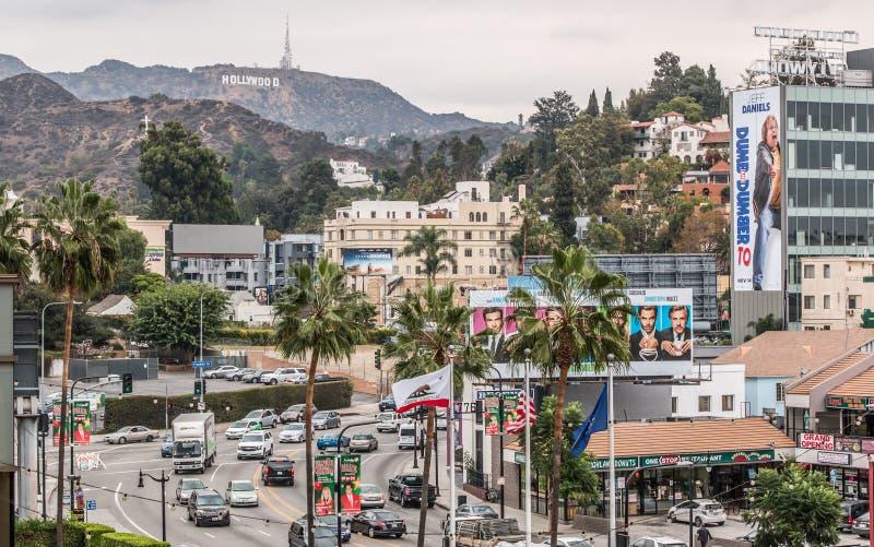 高地好莱坞阴云密布天 库存图片