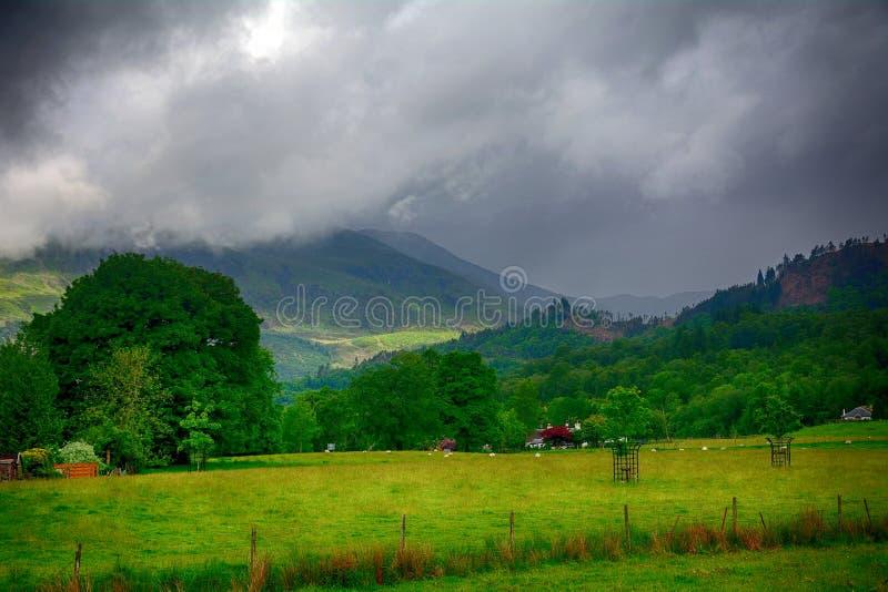 高地风景场面, Kilmahog,苏格兰 免版税库存图片