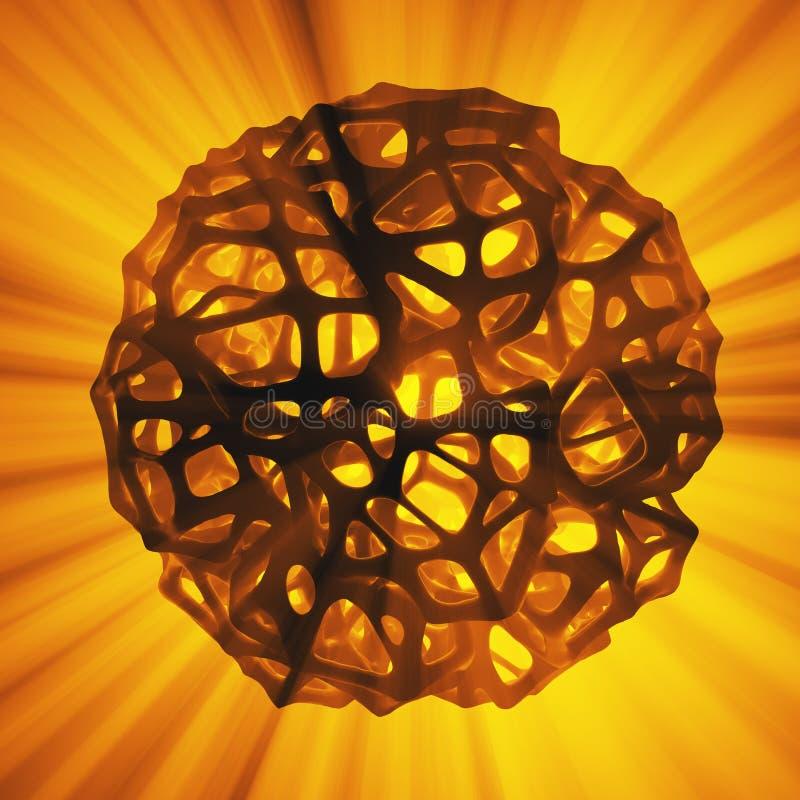 高多球形的抽象3d翻译概念与混乱滤网栅格多孔的mulecular结构的 科学幻想小说背景 皇族释放例证