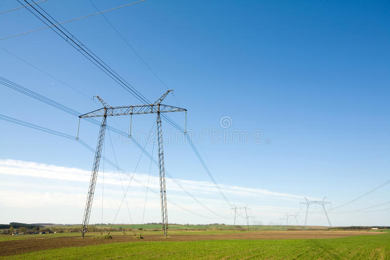 高定向塔电压 库存照片