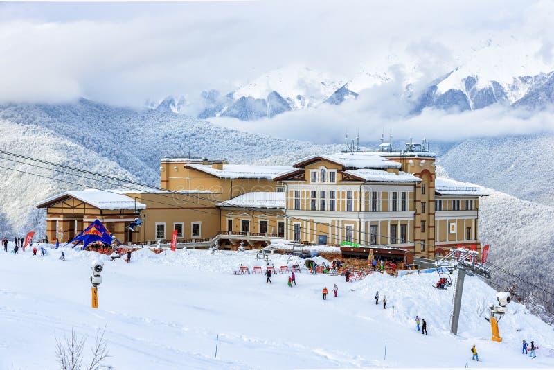 高尔基Gorod山滑雪胜地的Solis索契旅馆在冬天 免版税图库摄影