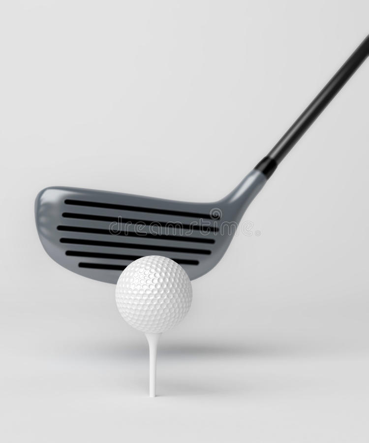 高尔夫俱乐部和球在灰色背景 库存例证
