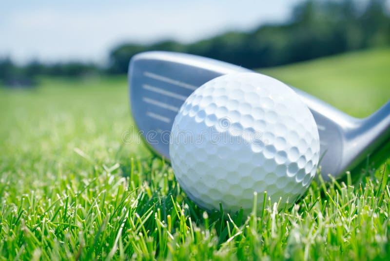 高尔夫俱乐部和球在草 库存图片