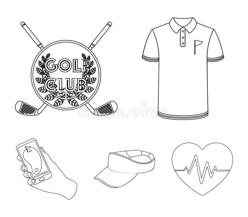 高尔夫俱乐部的象征,尖顶帽,高尔夫球运动员衬衣,有导航员的电话 高尔夫俱乐部集合汇集象 皇族释放例证