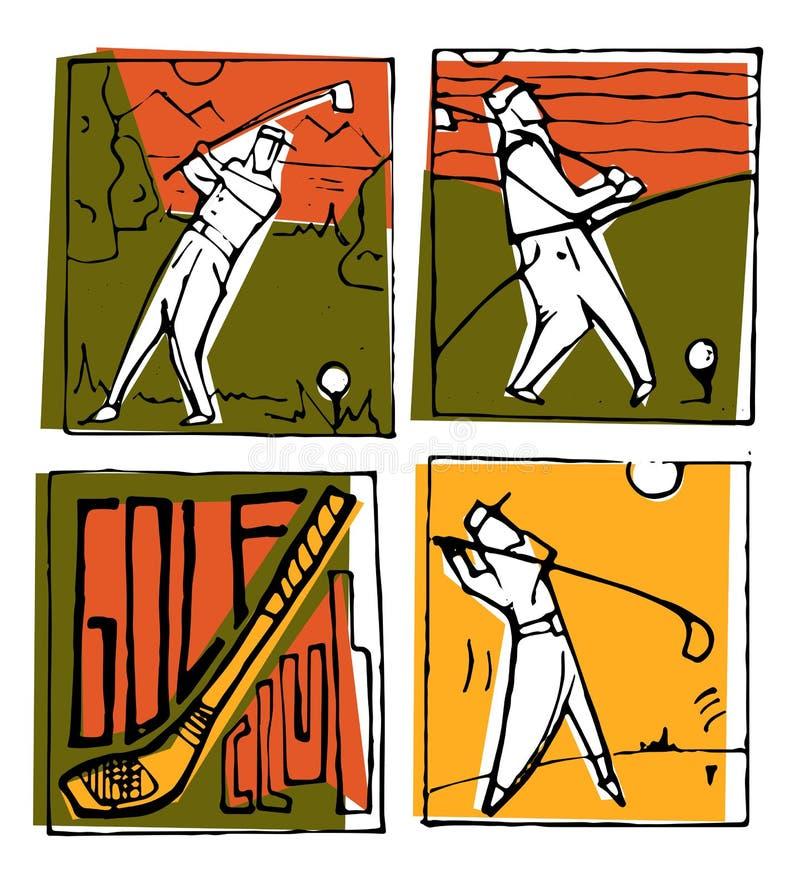 高尔夫俱乐部被设置的象海报 皇族释放例证