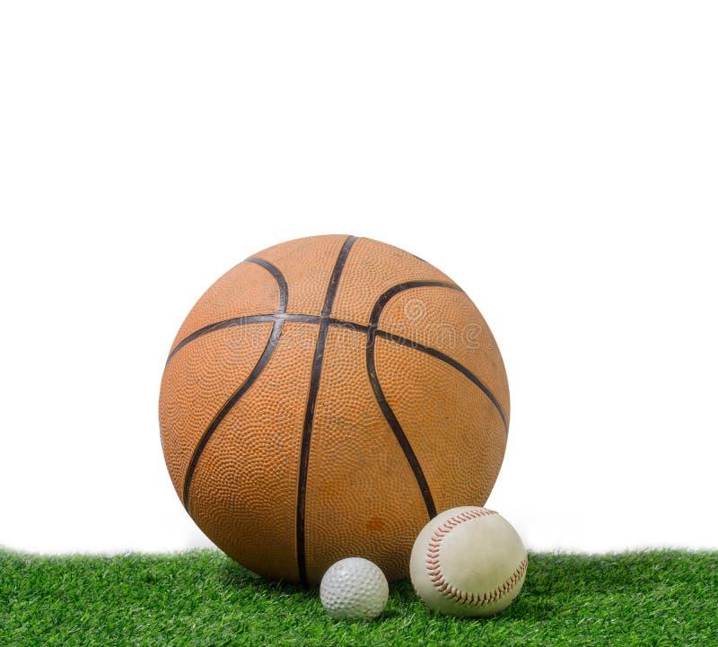高尔夫球、棒球和篮球在绿草在白色背景 库存照片