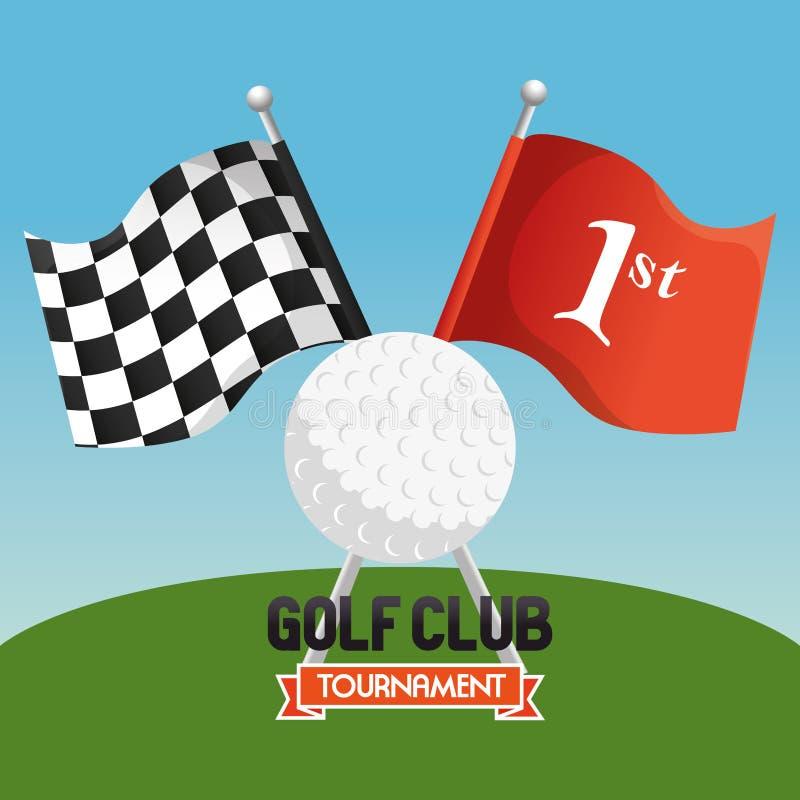 高尔夫球与旗子的体育俱乐部 库存例证