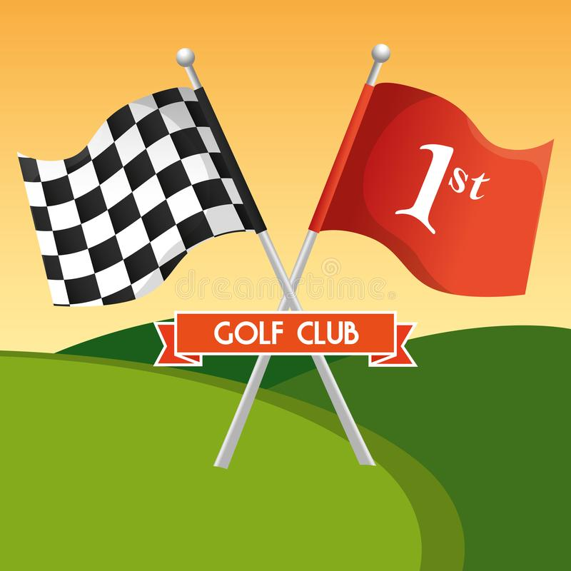高尔夫球与旗子的体育俱乐部 向量例证