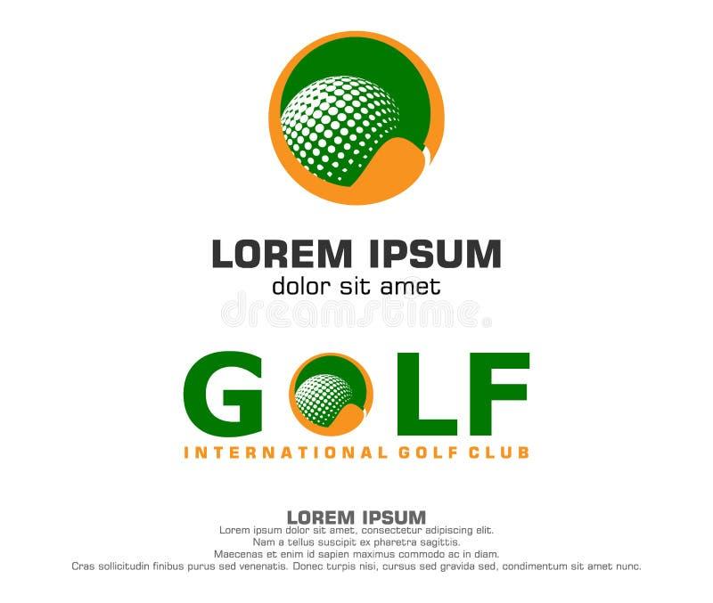 高尔夫球与球和棍子形状的商标设计 库存例证