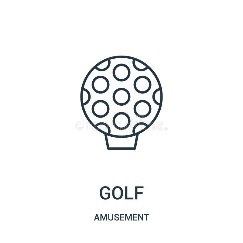 高尔夫球从娱乐汇集的象传染媒介 稀薄的线高尔夫球概述象传染媒介例证 库存例证