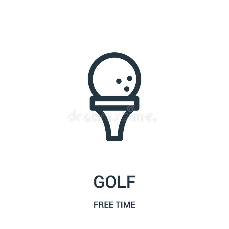高尔夫球从时间汇集的象传染媒介 稀薄的线高尔夫球概述象传染媒介例证 线性标志为在网的使用和 向量例证