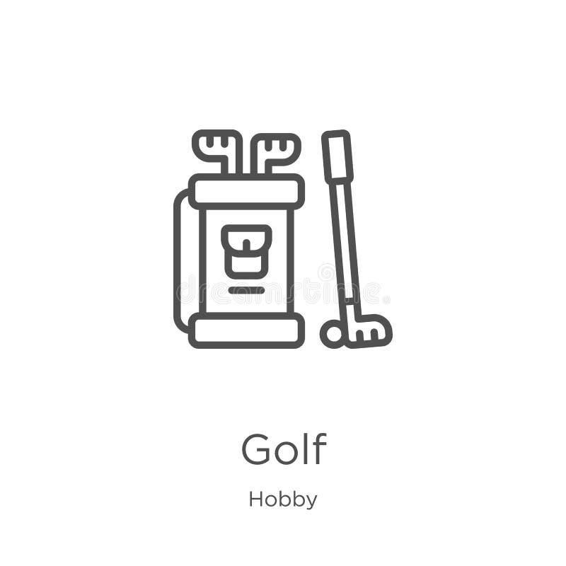 高尔夫球从爱好汇集的象传染媒介 稀薄的线高尔夫球概述象传染媒介例证 概述,稀薄的线网站的高尔夫球象 向量例证