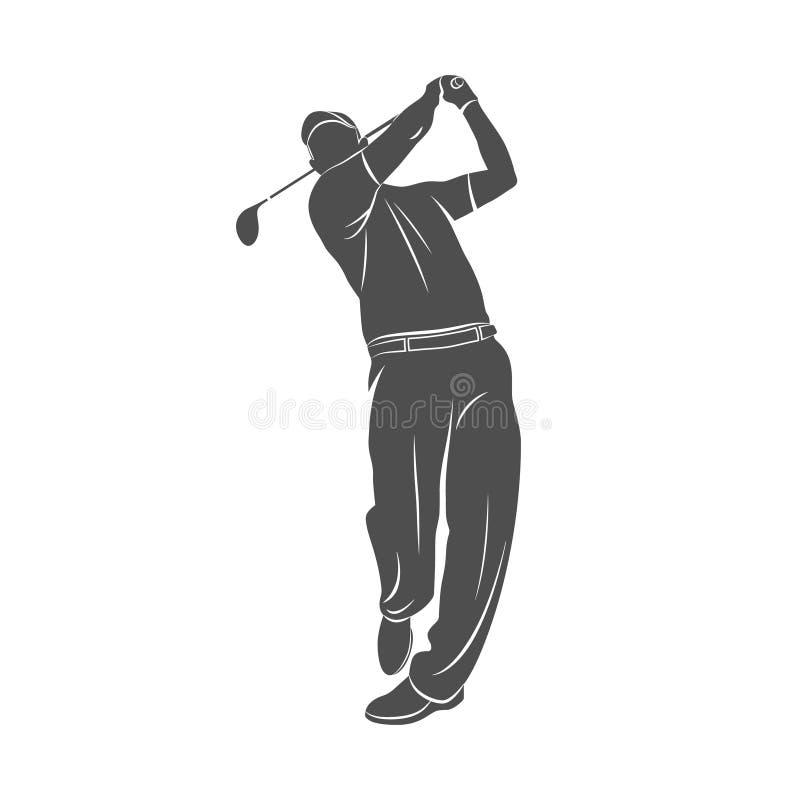 高尔夫球体育剪影 库存例证