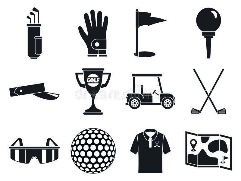 高尔夫球体育象集合,简单的样式 库存例证