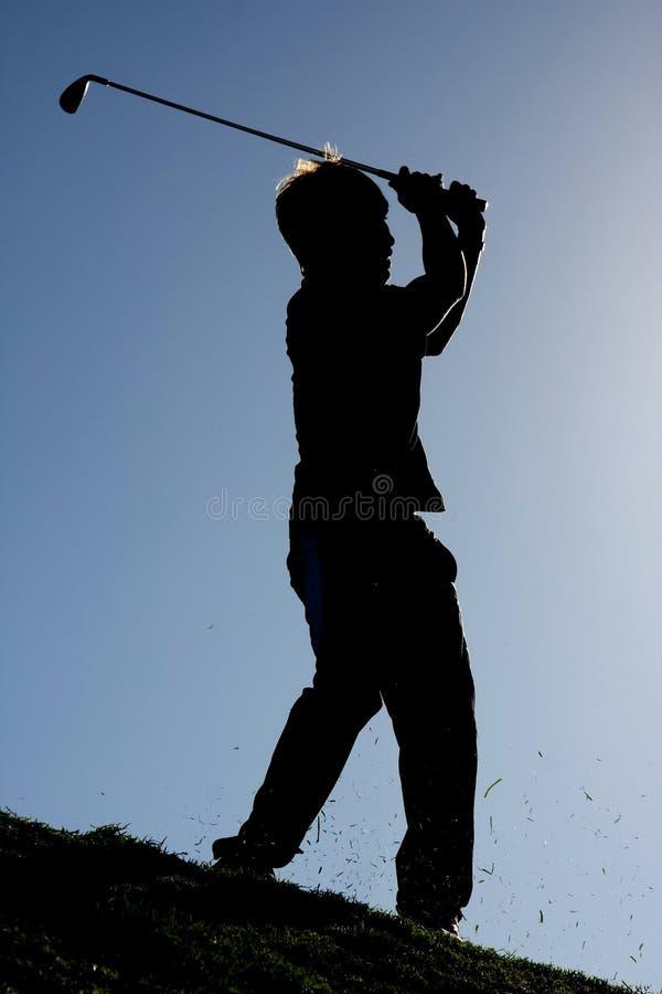 高尔夫球剪影冲程 库存图片