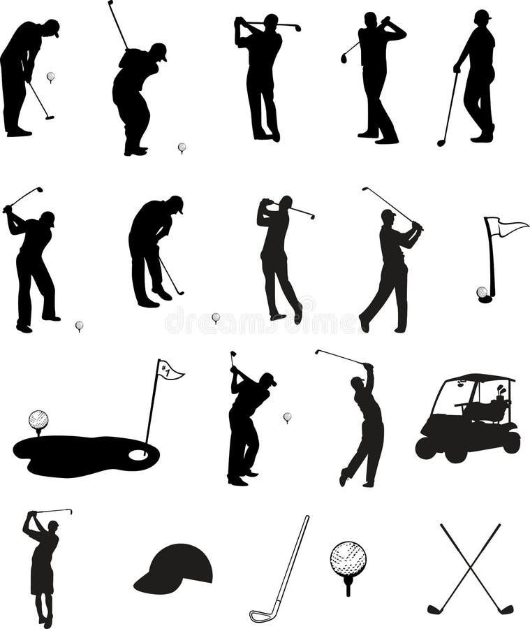 高尔夫球剪影 皇族释放例证