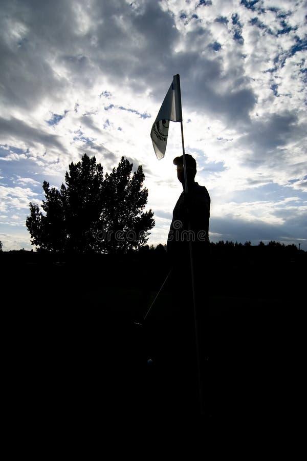 高尔夫球剪影 免版税图库摄影