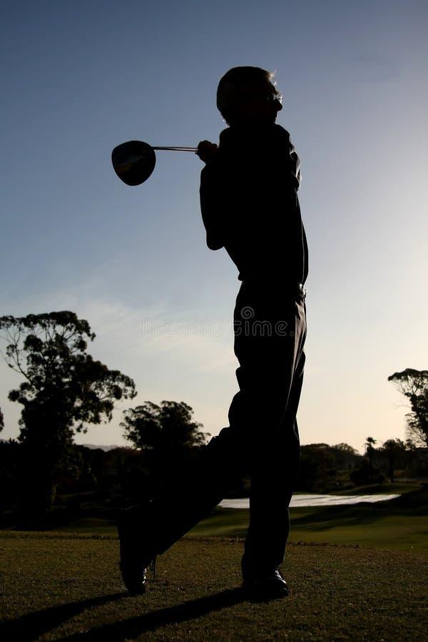 高尔夫球剪影 图库摄影