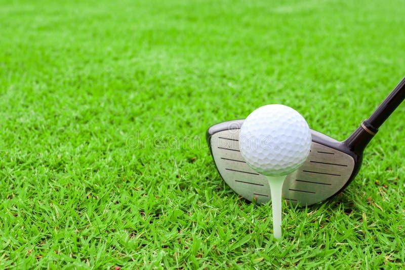 高尔夫球发球区域在准备对sho的绿草路线的球俱乐部司机 免版税图库摄影