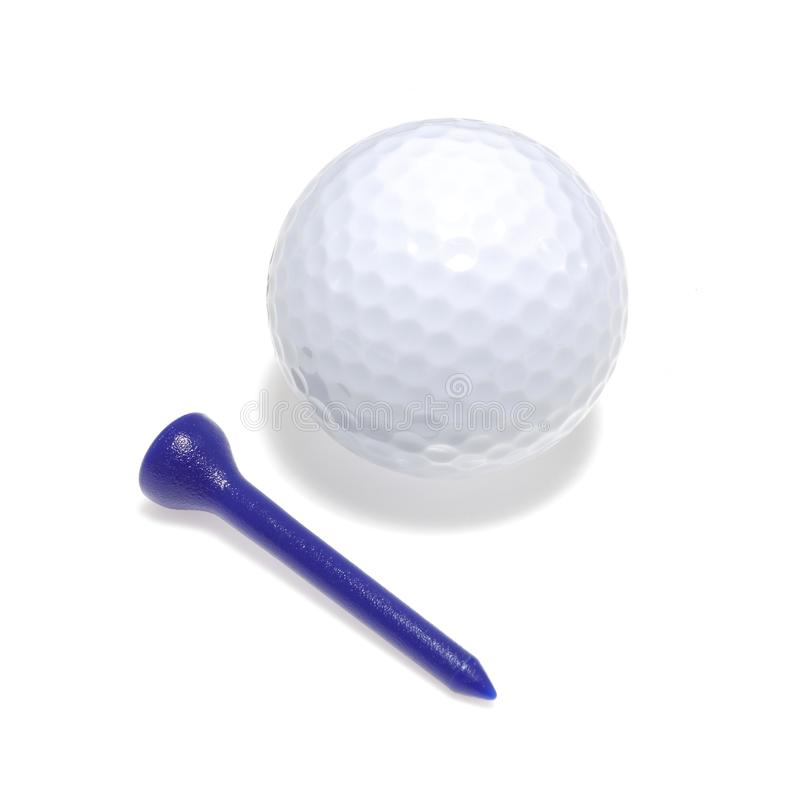 高尔夫球和发球区域与下落阴影 库存图片