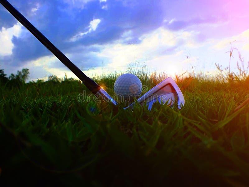 高尔夫球和铁 在绿色草坪击中高尔夫球场 特写镜头高尔夫球在柔和绿色草坪,当暴露在阳光体育p 免版税库存图片