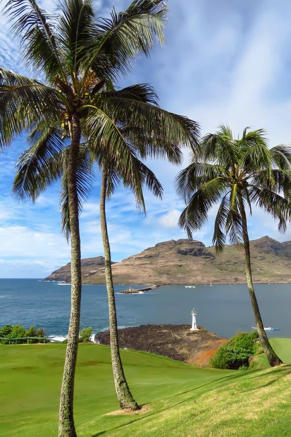 高尔夫球场、灯塔、海洋和海岛令人惊讶的看法Kalapaki海湾的,考艾岛,夏威夷 库存照片