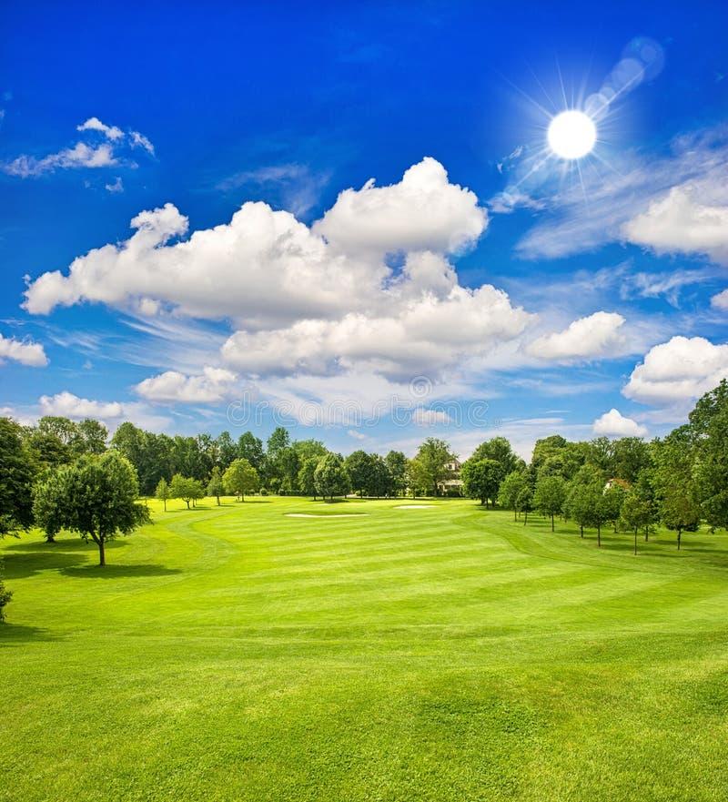 高尔夫球场和蓝色晴朗的天空。绿色领域风景 免版税库存照片
